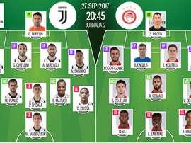 Alineaciones de Juventus y Olympiakos para la jornada 2 de la Champions League 2017-18. BeSoccer