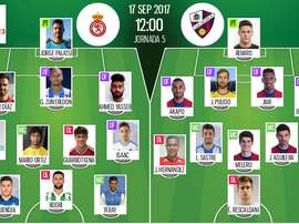 Alineaciones de la Cultural Leonesa y el Huesca en Jornada 5 de Segunda División 17-18. BeSoccer