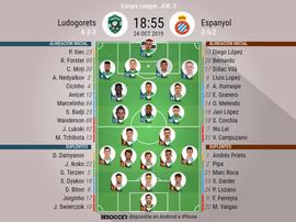 Alineaciones de Ludogorets y Espanyol para la jornada 3 de Europa League. BeSoccer