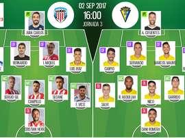 Alineaciones de Lugo y Cádiz en Jornada 3 de Segunda División 17-18. BeSoccer