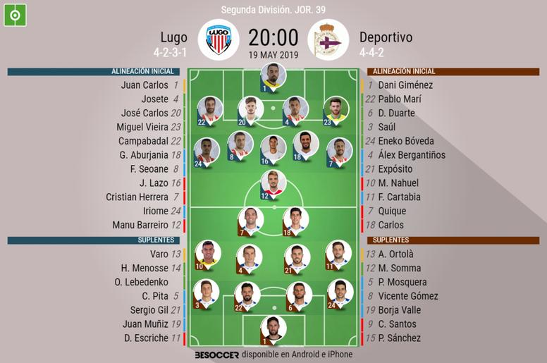 Alineaciones de Lugo y Deportivo. BeSoccer