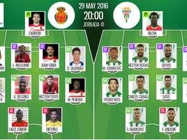 Alineaciones de Mallorca y Córdoba en Jornada 41 de Liga Adelante 15-16. BeSoccer
