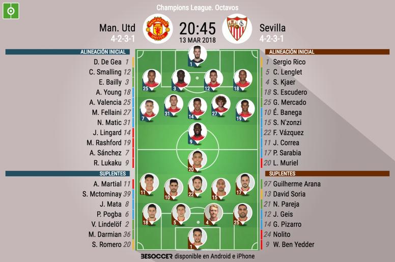 Official lineups Man United-Sevilla. BeSoccer
