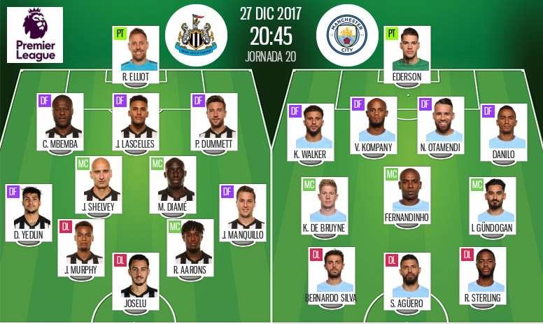Alineaciones de Newcastle y Manchester City en Jornada 20. BeSoccer