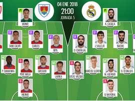 Os onzes de Numancia e Real Madrid para a partida desta quinta-feira. BeSoccer
