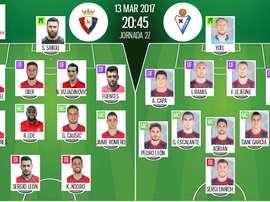 Alineaciones de Osasuna y Eibar para la jornada 27 de la Primera División 2016-17. BeSoccer