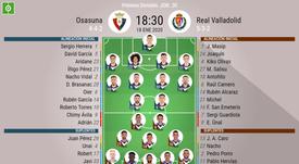 Onces oficiales de Osasuna y Valladolid. BeSoccer