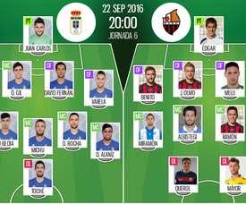 Alineaciones de Oviedo y Reus en Jornada 6 de Segunda División 16-17. BeSoccer