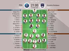 Onces del PSG-Girondins de la jornada 26 de la Ligue 1. BeSoccer