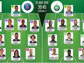 Alineaciones de PSG y Saint-Etienne en 25-08-2017. BeSoccer