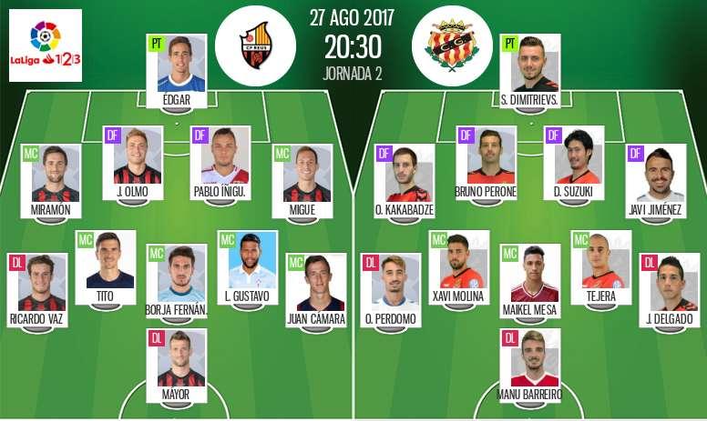 Alineaciones de Reus y Nàstic en Jornada 2 de Segunda División 17-18. BeSoccer