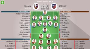 Les compos officielles du match de Liga entre Huesca et l'Atlético de Madrid. BeSoccer