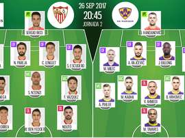 Os onzes de Sevilla e Maribor para a partida desta terça-feira. BeSoccer