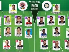 Alineaciones de Sparta-Inter en Jornada 2 de Europa League 16-17. BeSoccer