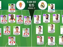 Official lineups of La Liga clash between Sporting Gijon and Real Madrid. BeSoccer