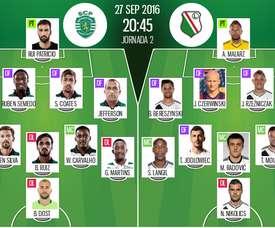 Alineaciones de Sporting de Lisboa y Legia de Varsovia en Jornada 2 de Champions League 16-17. BeSoccer