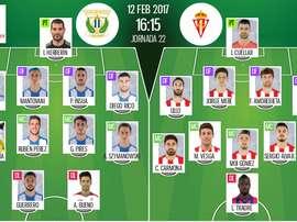 Alineaciones de Sporting y Leganés, partido de la jornada 22 de Primera División. BeSoccer