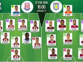 Alineaciones de Stoke City-Aston Villa perteneciente a la Jornada 27 de Premier League 15-16. BeSoccer