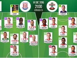 Alineaciones de Stoke y Southampton para el encuentro de la jornada 15 de la Premier 2016-17. BeSoccer