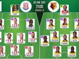 Alineaciones de Stoke y Watford para el encuentro de la jornada 20 de la Premier League 2016-17. BeSoccer