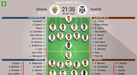 Onces del Almería-Tenerife de la jornada 14 de Segunda. BeSoccer