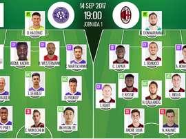 Alineaciones del Austria de Viena y Milan para la jornada 1 de la Europa League. BeSoccer