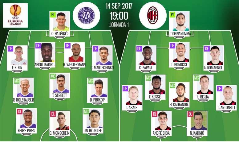 Alineaciones del Austria de Viena y Milan de la Europa League. BeSoccer