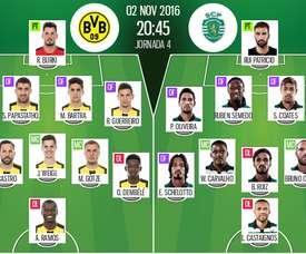 Alineaciones del B. Dortmund-Sporting Lisboa del 2-11-16. BeSoccer