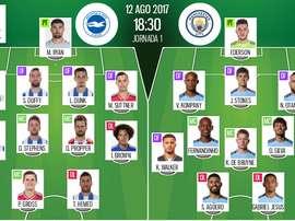 Os onzes de Brighton e City para a ronda inaugural da Premier League. BeSoccer