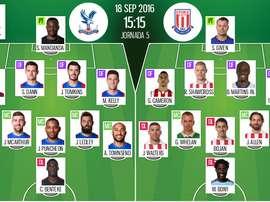 Alineaciones del Crystal Palace-Stoke City de la jornada 5 de Premier 2016-17. BeSoccer