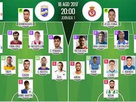 Alineaciones del Lorca-Cultural de la Jornada 1 de la Segunda División 2017-18. BeSoccer