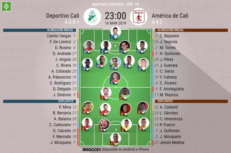 Alineaciones del Deportivo Cali-América de Cali del Apertura 2019 de Colombia. BeSoccer