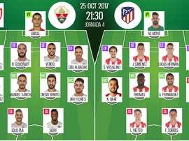 Les compos officielles du match de Coupe du Roi entre Elche et l'Atlético. BeSoccer