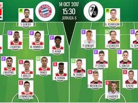Escalações oficiais de Bayern Munique e Freiburg, respetivamente. BeSoccer