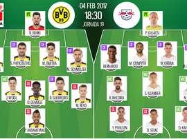 Alineaciones del encuentro de Bundesliga Borussia Dortmund-RB Leipzig, febrero de 2017. BeSoccer