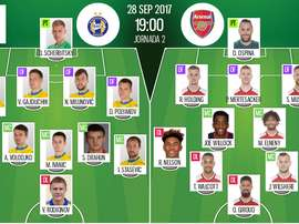 Official line-ups for the Europa League clash between BATE Borisov and Arsenal. BeSoccer