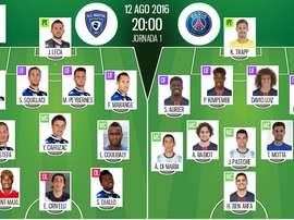 Alineaciones del encuentro de Ligue 1 Bastia-PSG, pertenecientes a agosto de 2016. BeSoccer