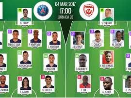Alineaciones del encuentro de Ligue 1 PSG-Nancy, marzo de 2017. BeSoccer