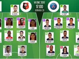 Alineaciones del encuentro de Ligue 1 Rennes-PSG, pertenecientes a enero de 2017. BeSoccer