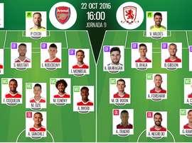 Alineaciones del encuentro de Premier League Arsenal-Middlesbrough, octubre de 2016. BeSoccer