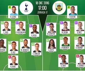 Alineaciones del encuentro de Premier Tottenham-Burnley, pertenecientes a diciembre de 2016. BeSoccer