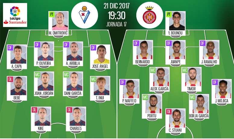 Les compos officielles du match de Liga entre Eibar et Gérone. BeSoccer