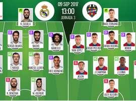As escalações de Real Madrid e Levante, respetivamente, para este jogo da LaLiga. BeSoccer