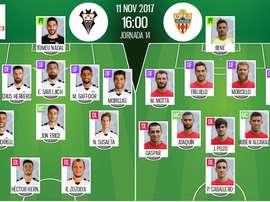 Alineaciones del encuentro de Segunda División Albacete-Almería. BeSoccer