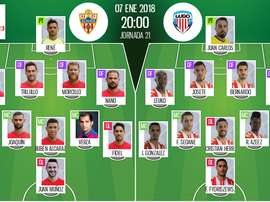 Alineaciones del encuentro de Segunda División Almería-Lugo de la jornada 21 de la temporada 2017-18