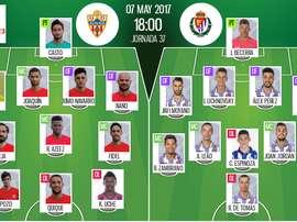 Alineaciones del encuentro de Segunda División Almería-Valladolid. BeSoccer