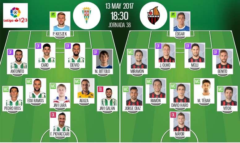Alineaciones del encuentro de Segunda División Córdoba-Reus. BeSoccer