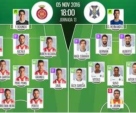 Alineaciones del encuentro de Segunda División Girona-Tenerife, pertenecientes a noviembre de 2016. BeSoccer