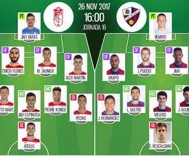 Alineaciones del encuentro de Segunda División Granada-Huesca. BeSoccer