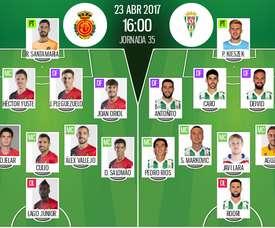 Alineaciones del encuentro de Segunda División Mallorca-Córdoba, abril de 2017. BeSoccer